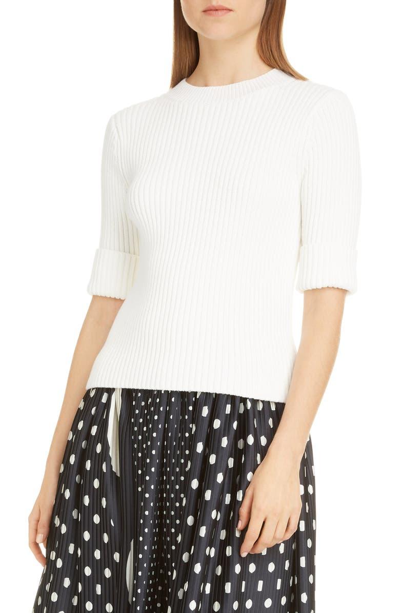 DRIES VAN NOTEN Rolta Rib Cotton Blend Sweater, Main, color, WHITE