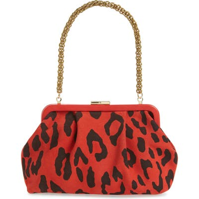 Clare V. Sissy Leopard Print Leather Bag - Red