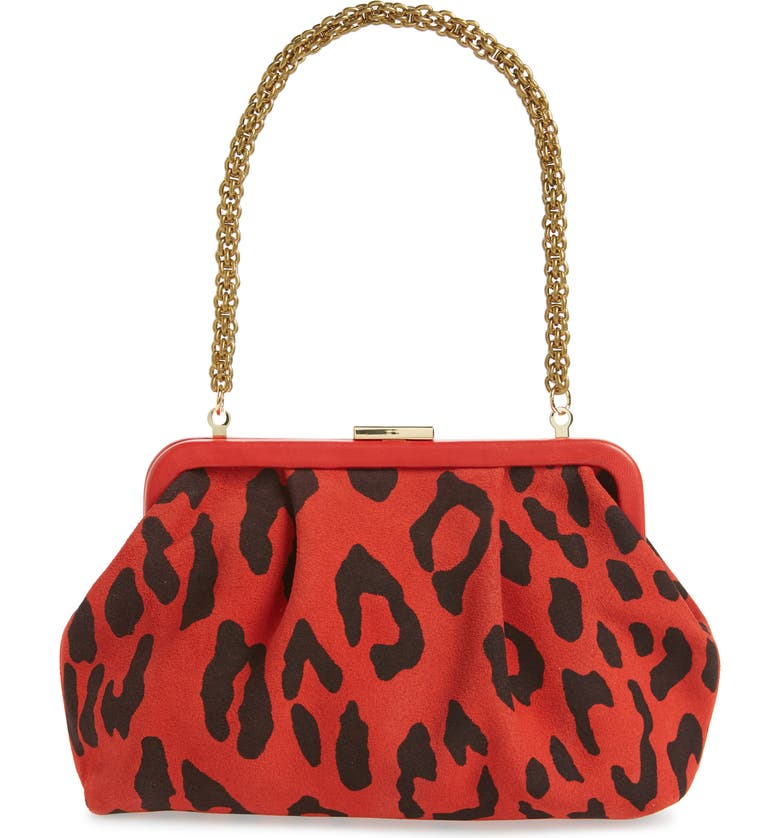CLARE V. Sissy Leopard Print Leather Bag, Main, color, CHERRY PABLO CAT SUEDE