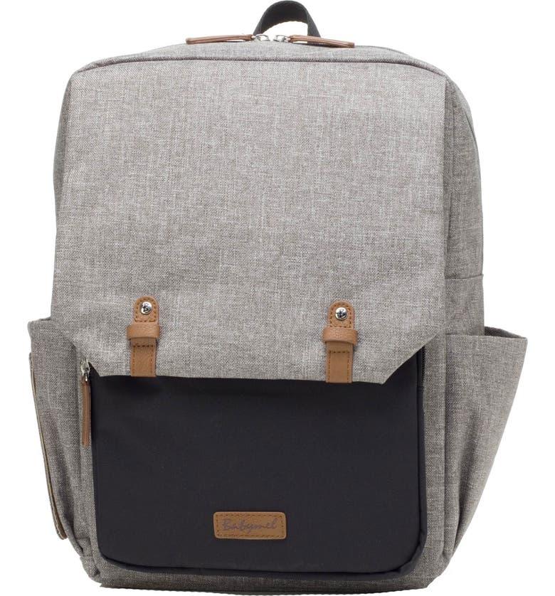 BABYMEL George Water Resistant Diaper Backpack, Main, color, BLACK/ GREY