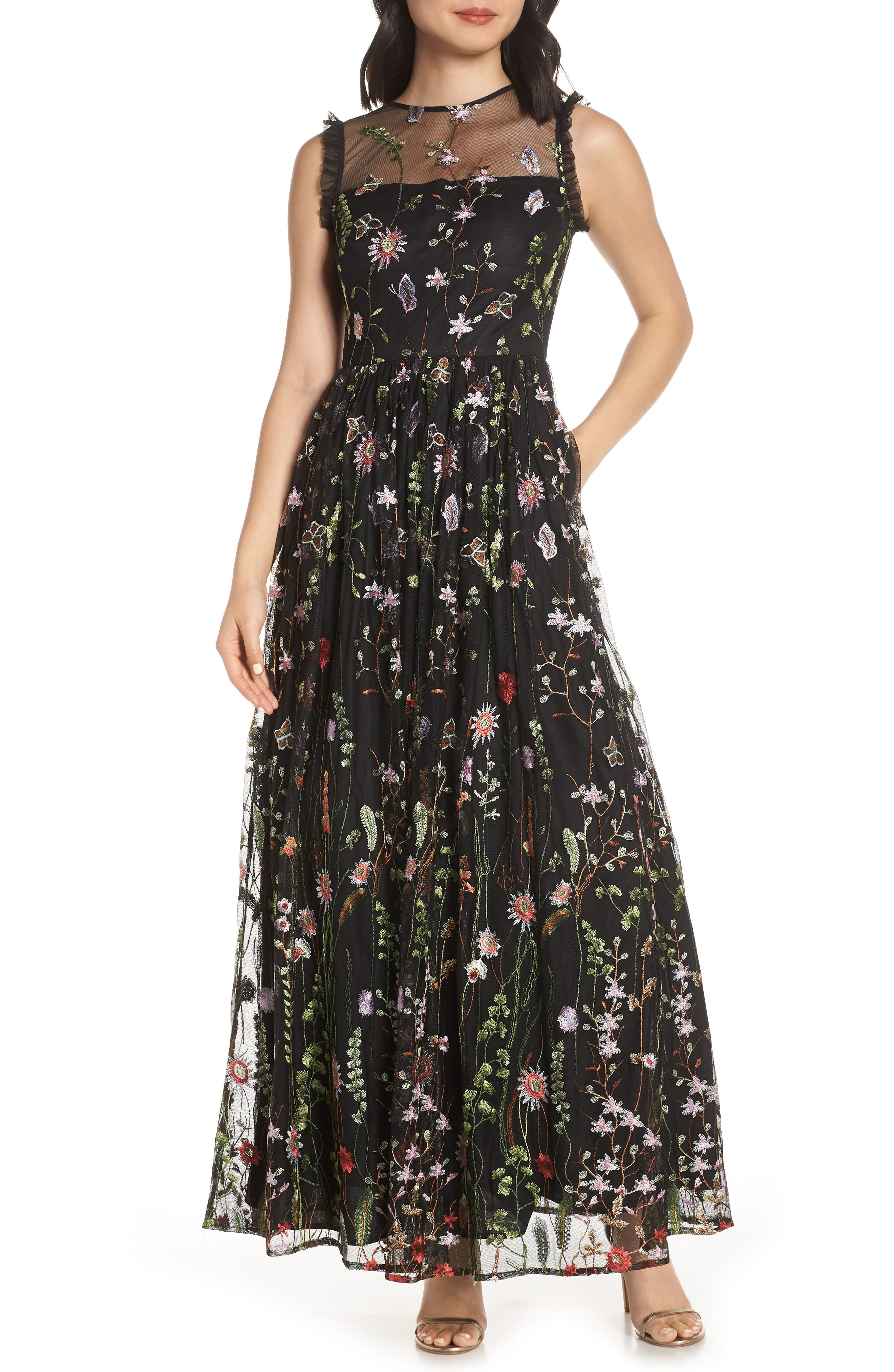 Morgan & Co. Embroidered Mesh Evening Dress, Black