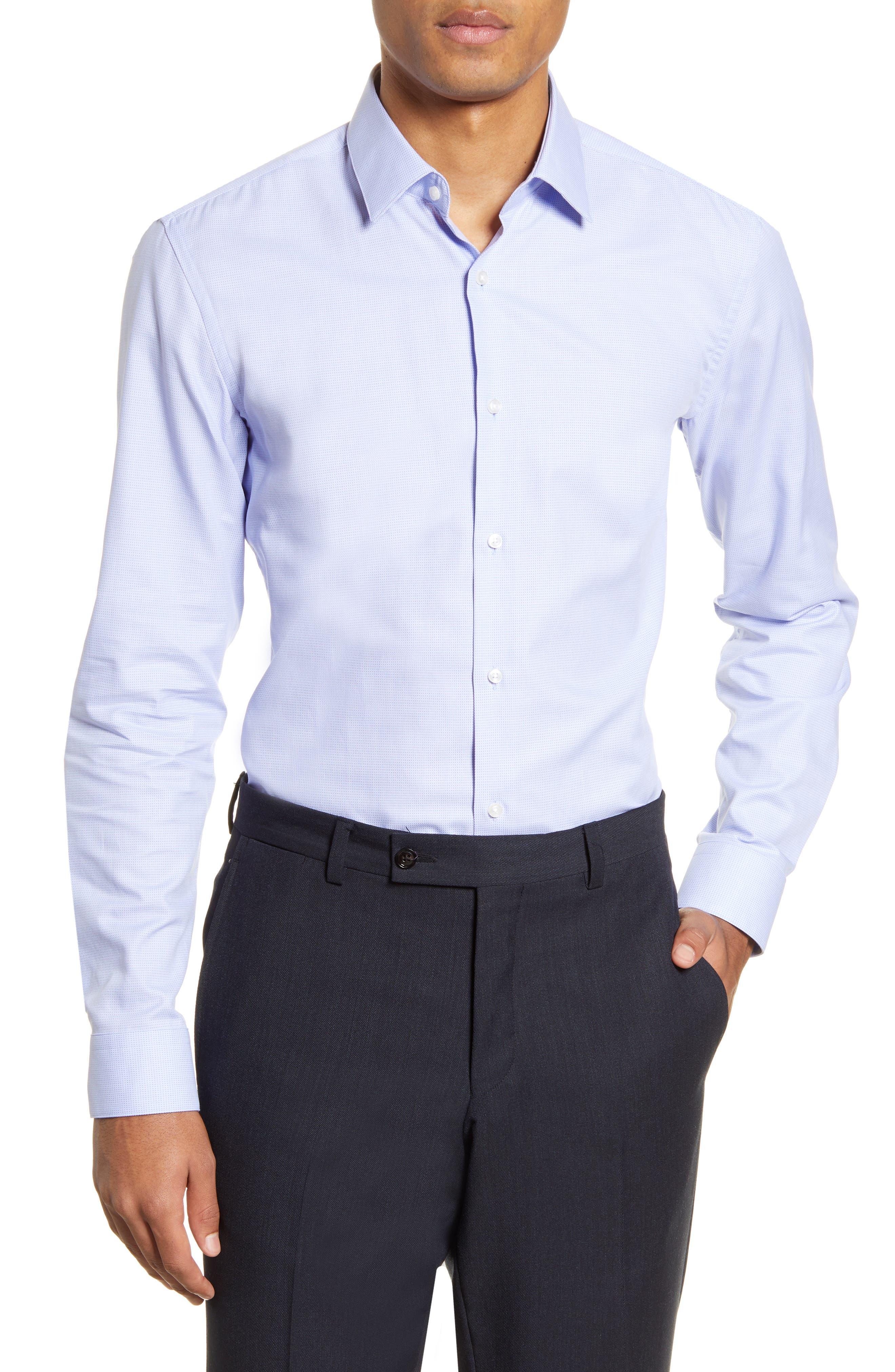 Image of BOSS Slim Fit Pattern Dress Shirt