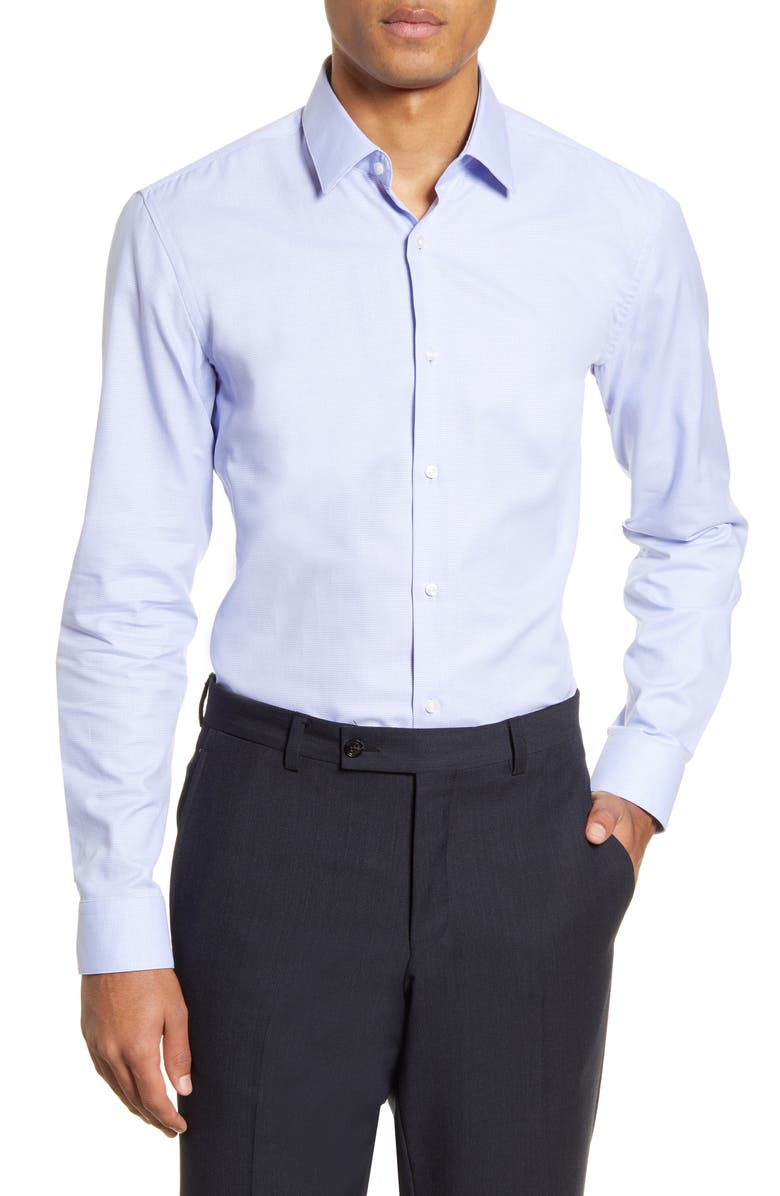 BOSS Isko Slim Fit Solid Dress Shirt, Main, color, PURPLE