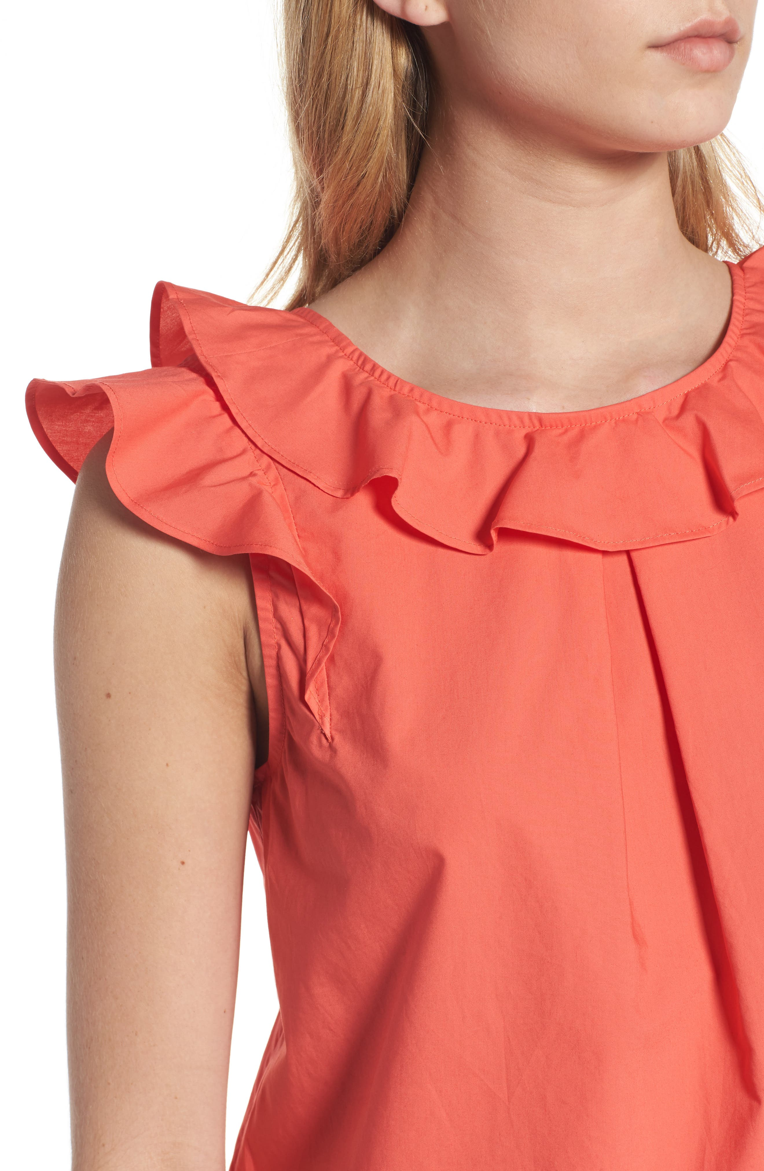 ,                             Ruffle Cotton Poplin Top,                             Alternate thumbnail 15, color,                             950