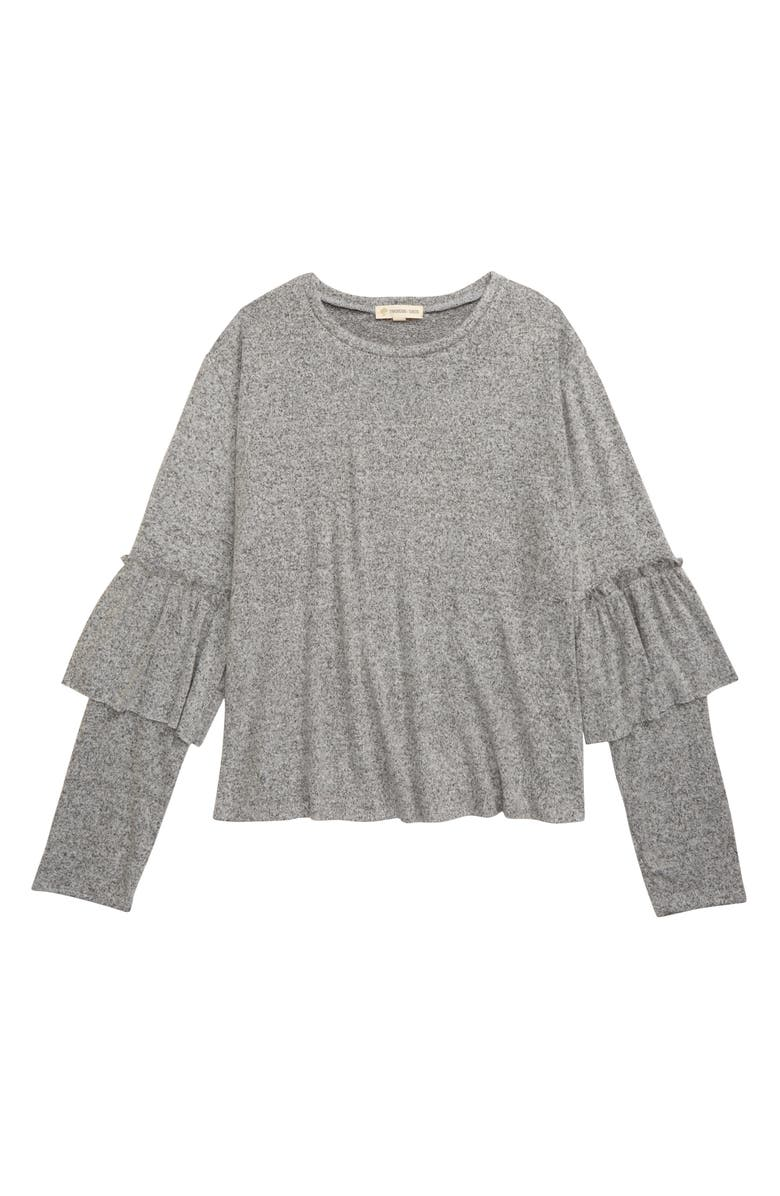 TUCKER + TATE Cozy Long Sleeve Ruffle Tee, Main, color, GREY ASH HEATHER