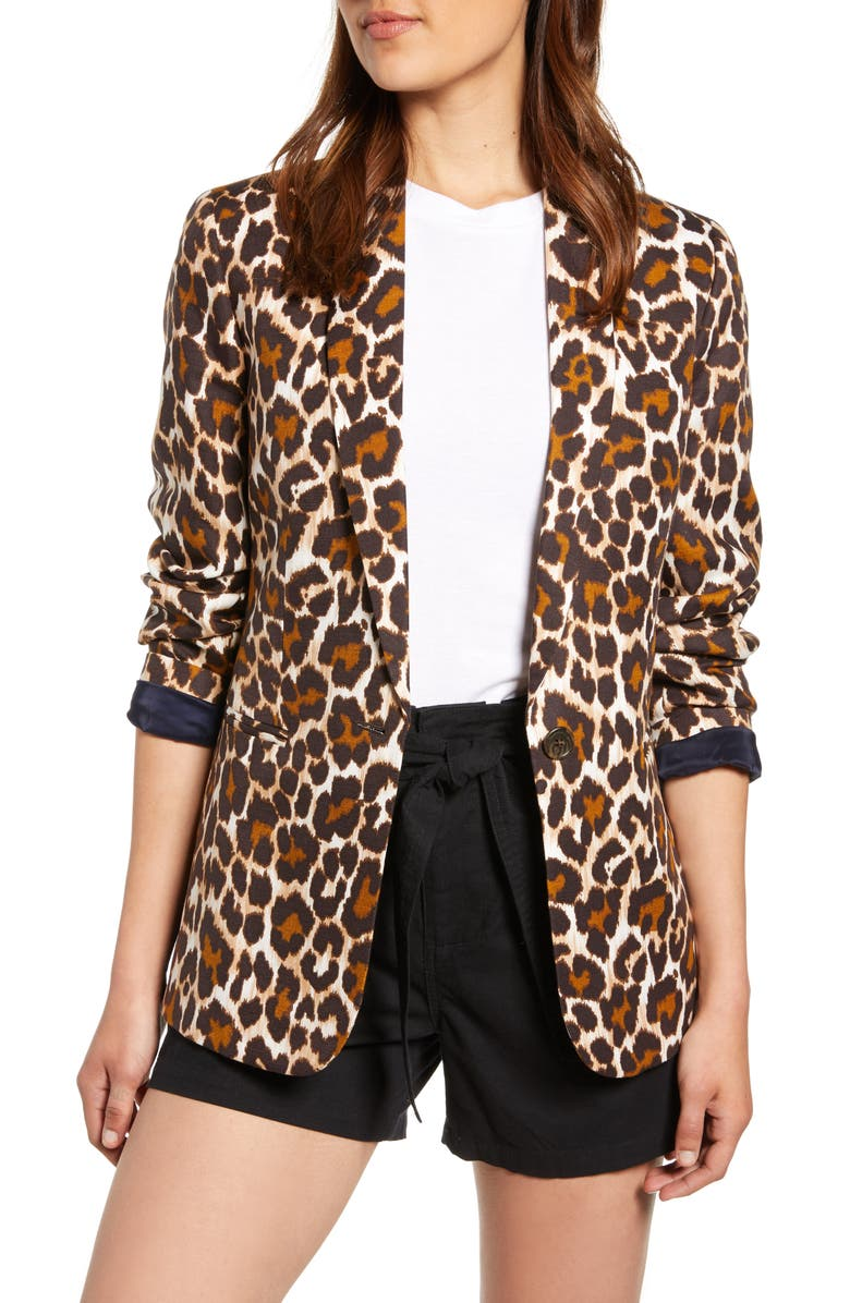 J.CREW Parke Leopard Print Linen Blend Blazer, Main, color, AMBER BLACK