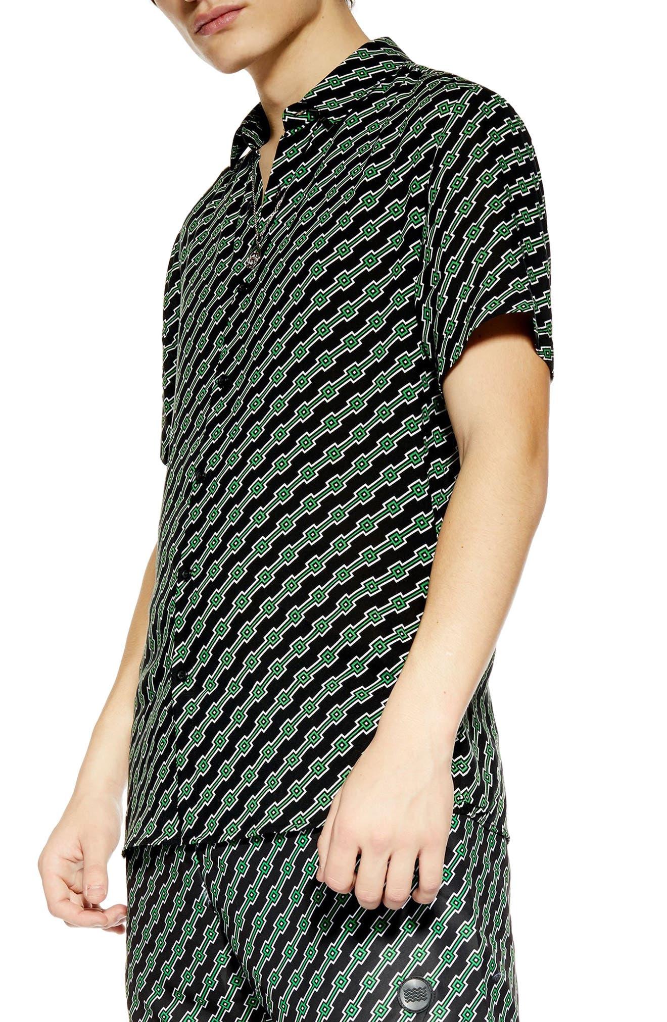 ,                             Slim Fit Geometric Print Shirt,                             Main thumbnail 1, color,                             BLACK MULTI