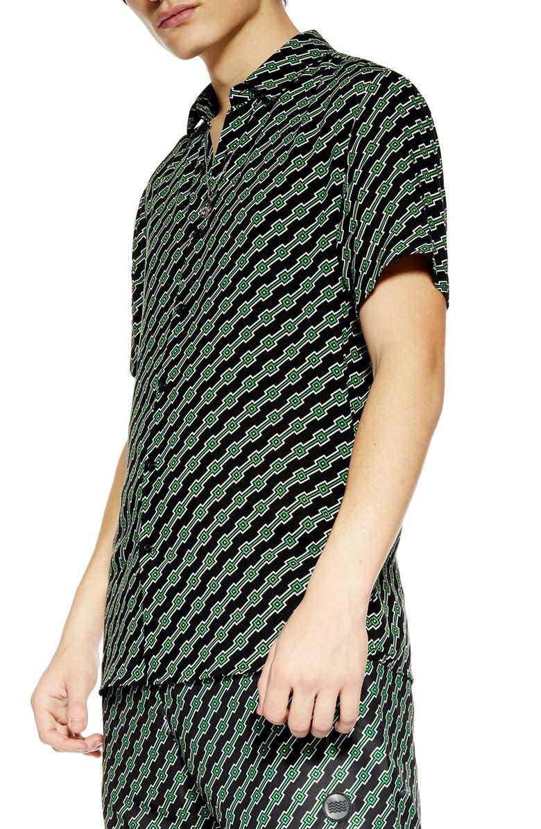 TOPMAN Slim Fit Geometric Print Shirt, Main, color, 001