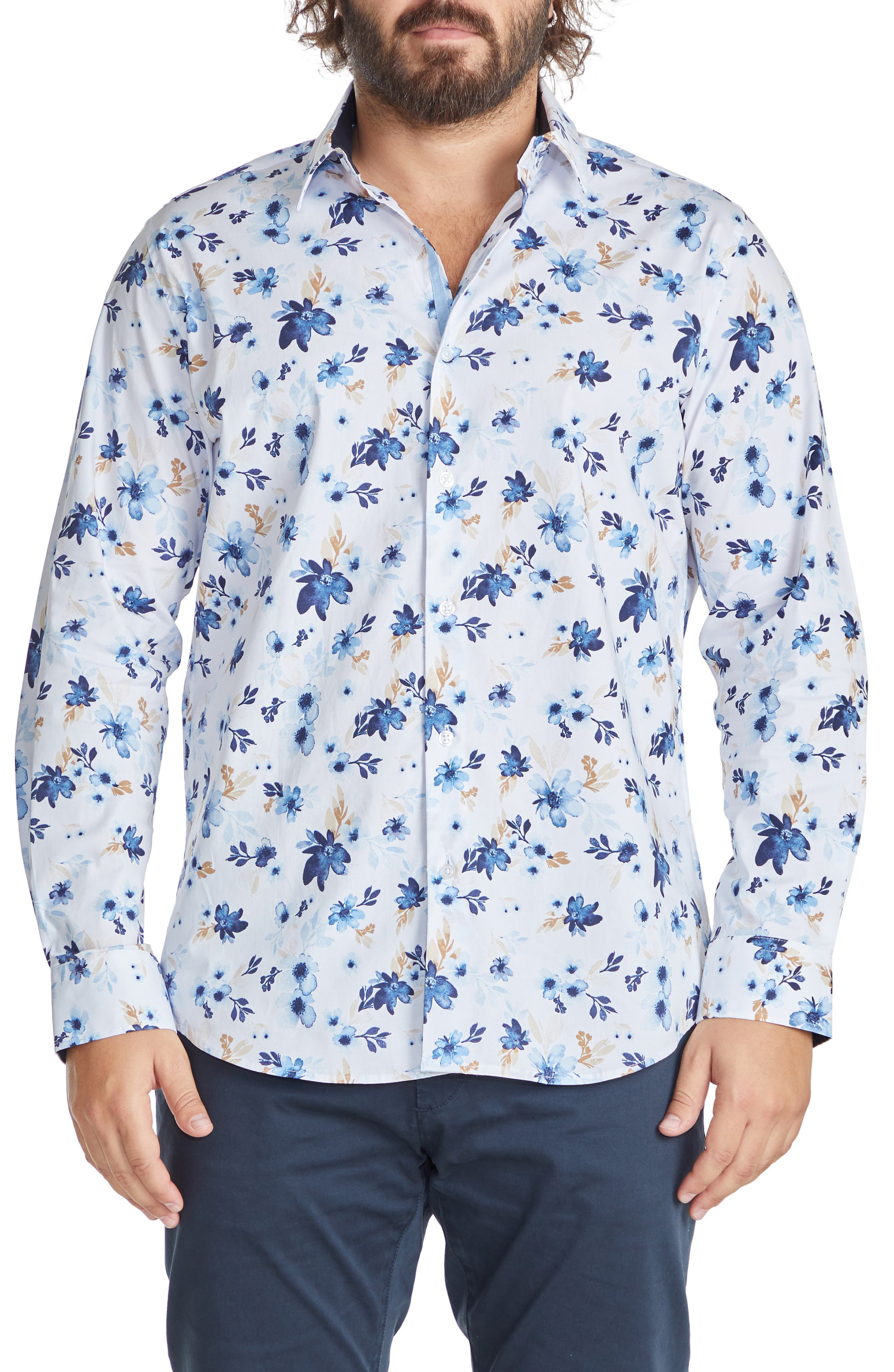Watson Floral Print Stretch Cotton Button-Up Shirt