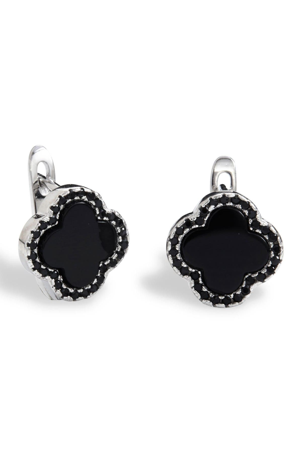 Image of Savvy Cie Sterling Silver Onyx Clover Stud Earrings