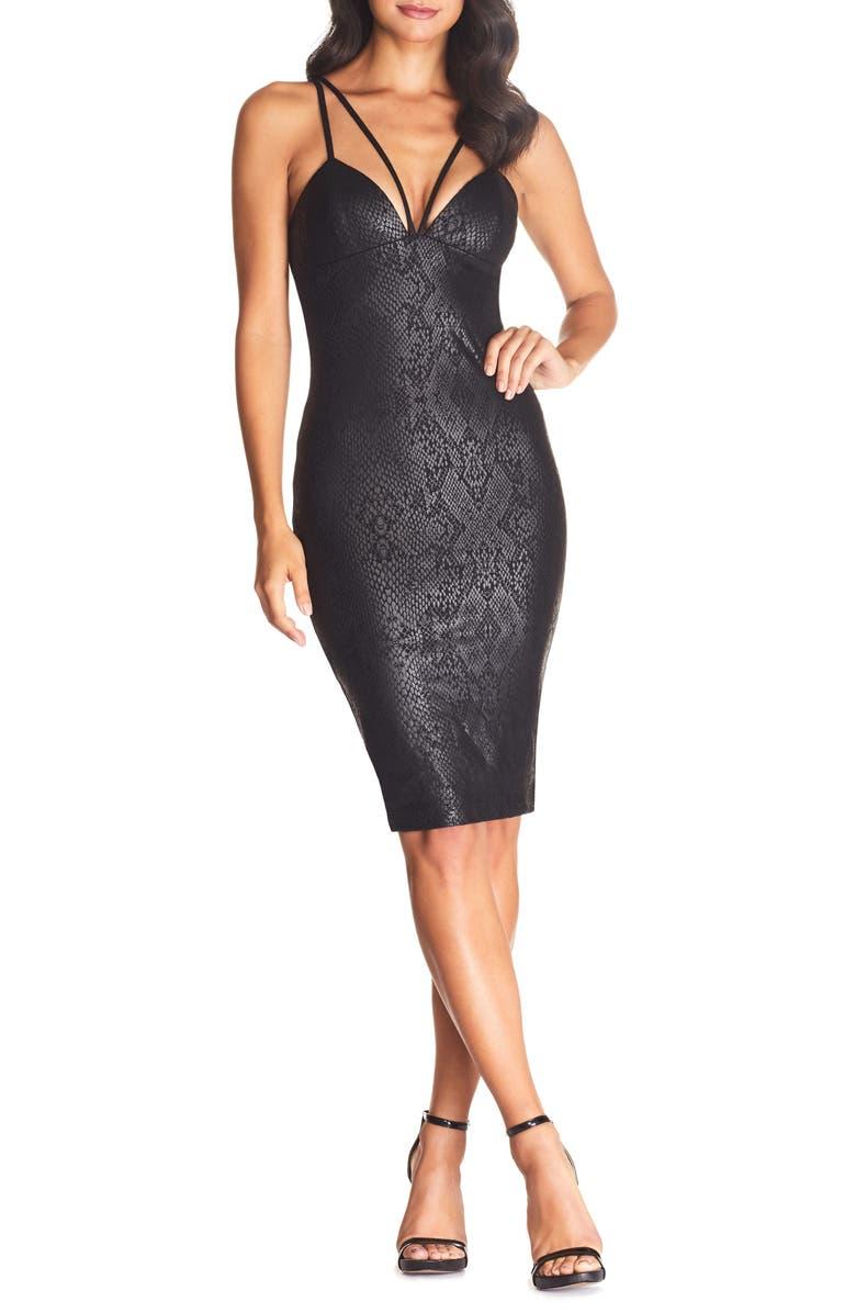 COSMOPOLITAN DRESS THE POPULATION Vickie Strappy Snake Print Body-Con Dress, Main, color, BLACK