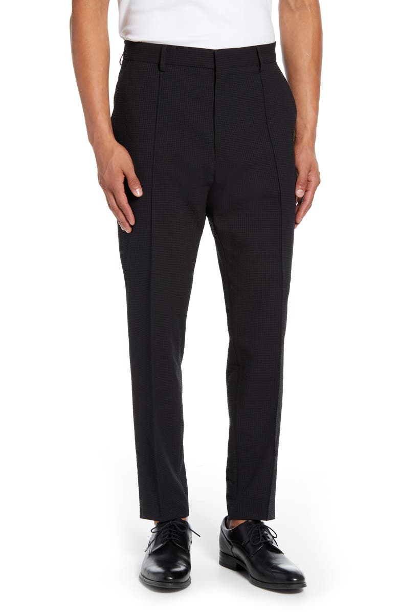 BOSS Paco Flat Front Seersucker Dress Pants, Main, color, BLACK