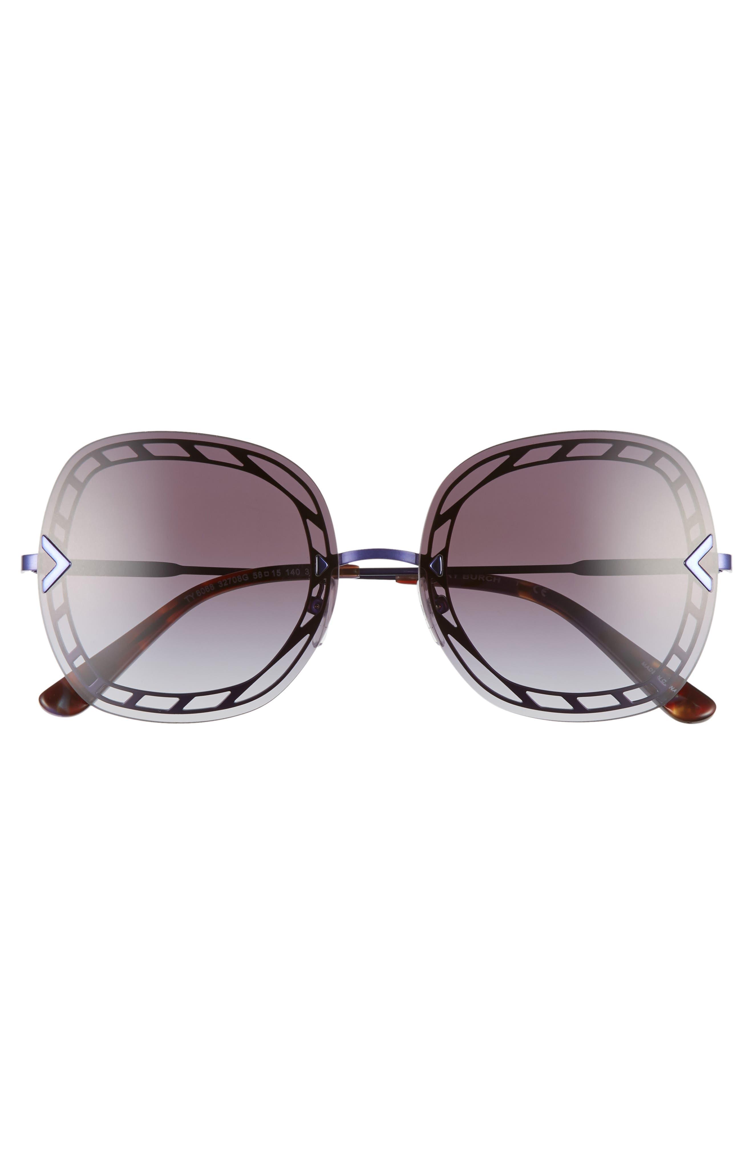 ,                             58mm Gradient Square Sunglasses,                             Alternate thumbnail 3, color,                             001