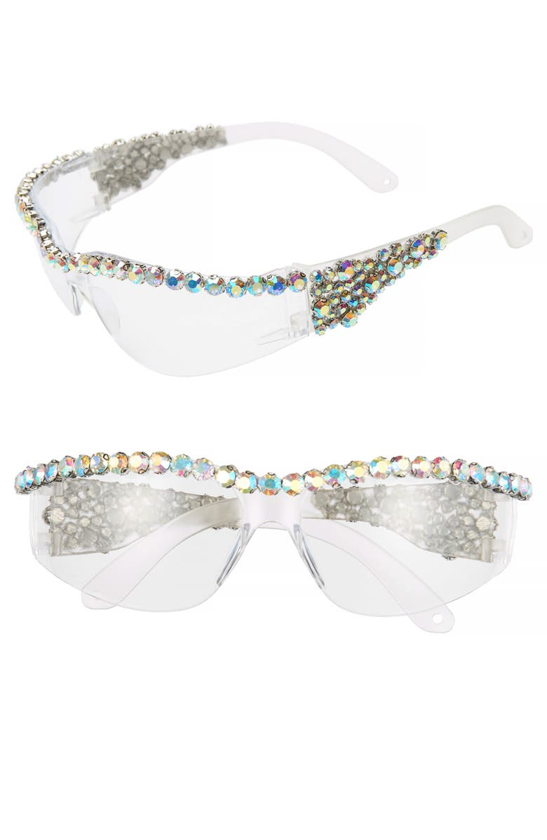 RAD + REFINED Crystal Embellished Sport Shield Sunglasses, Main, color, CLEAR/ CRYSTAL