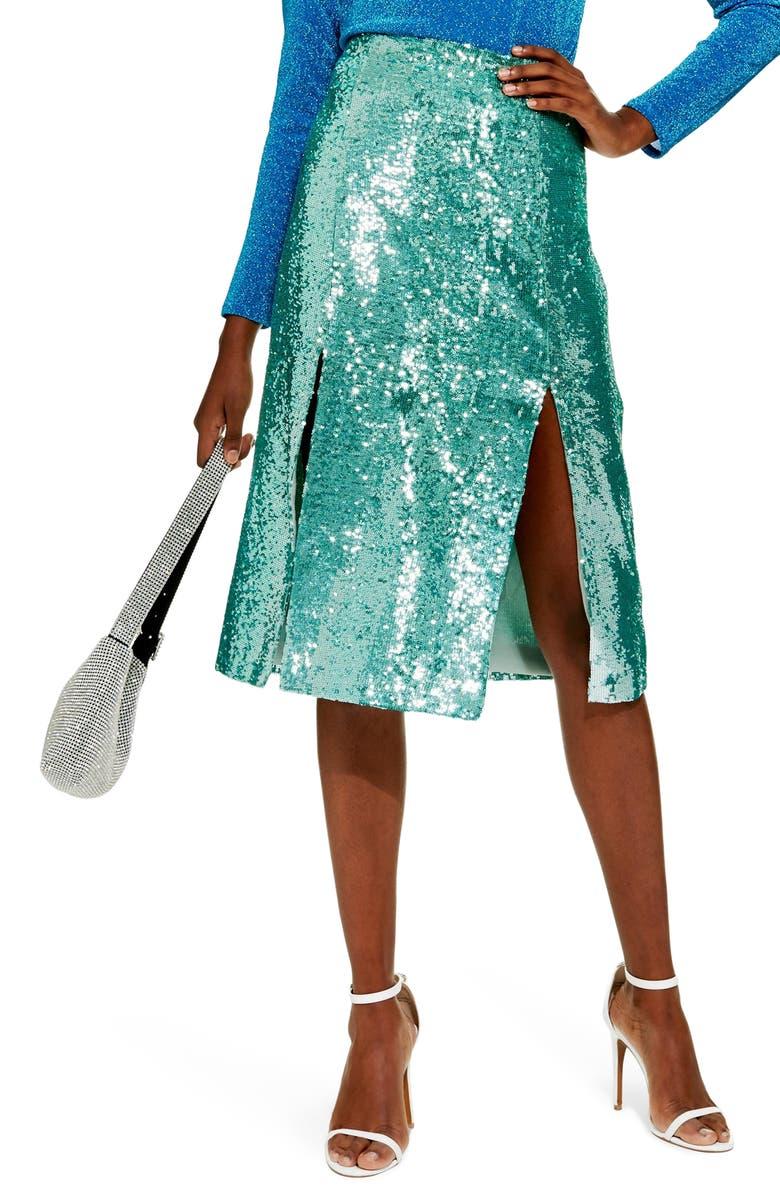 TOPSHOP Sequin Skirt, Main, color, 330