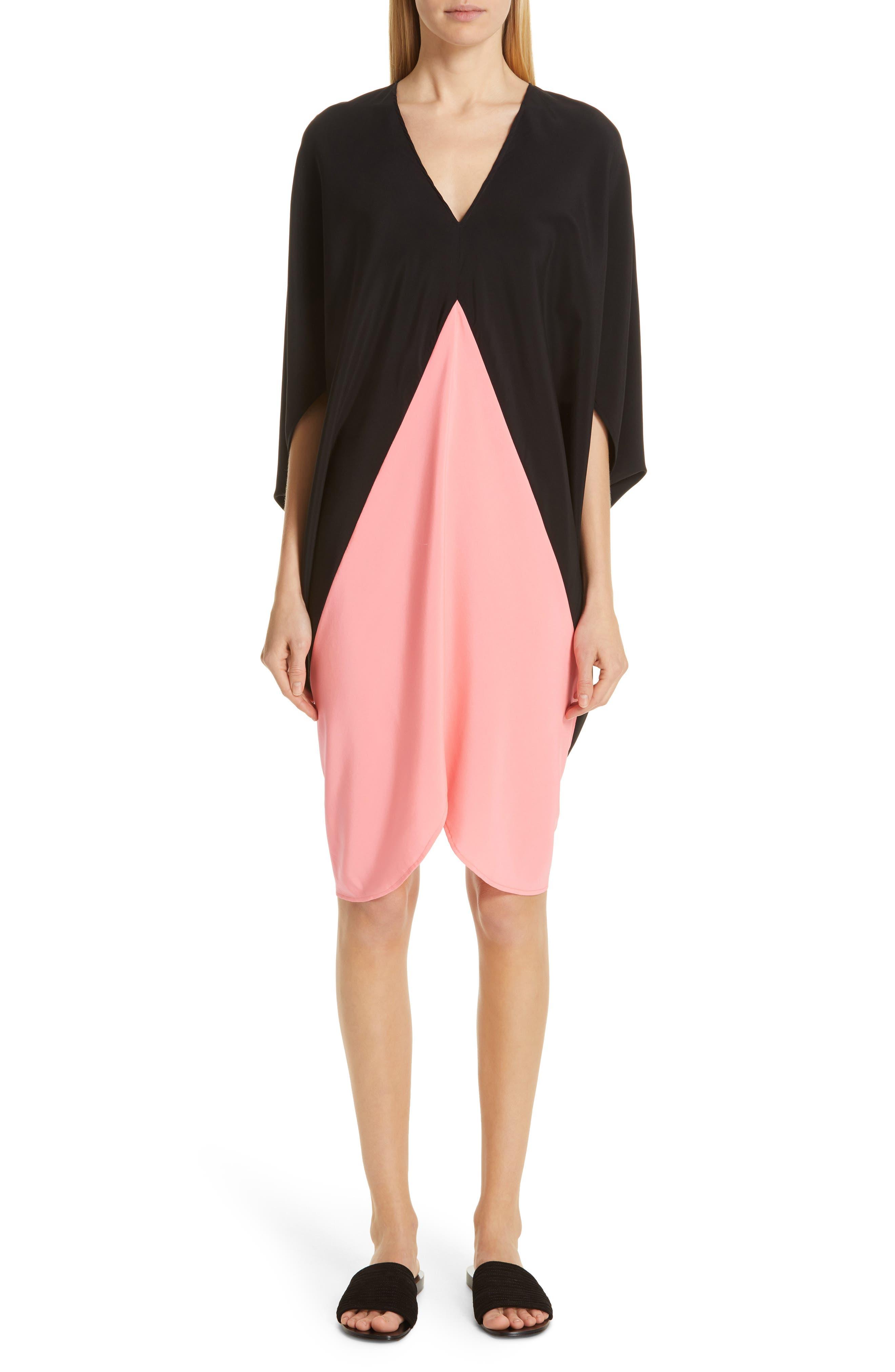 ,                             Koya Colorblock Stretch Silk Dress,                             Alternate thumbnail 6, color,                             BLACK/ NEON ROSE