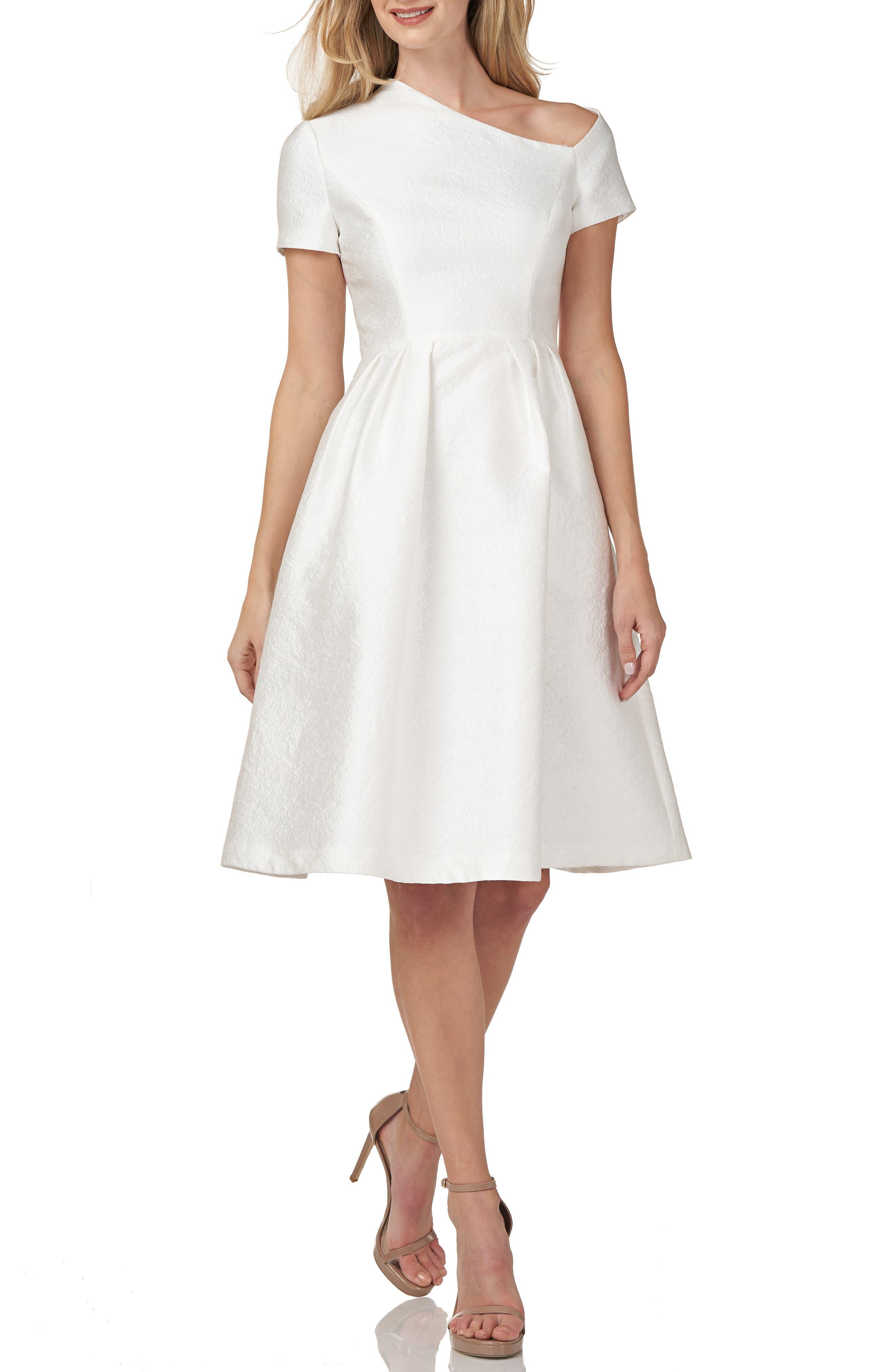 Asymmetrical Neck Satin Jacquard Cocktail Dress