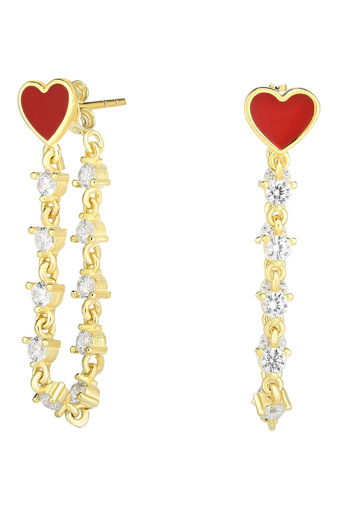 Sphera Milano 14K Yellow Gold Plated Sterling Silver CZ & Red Enamel Heart Front-Back Earrings at Nordstrom Rack