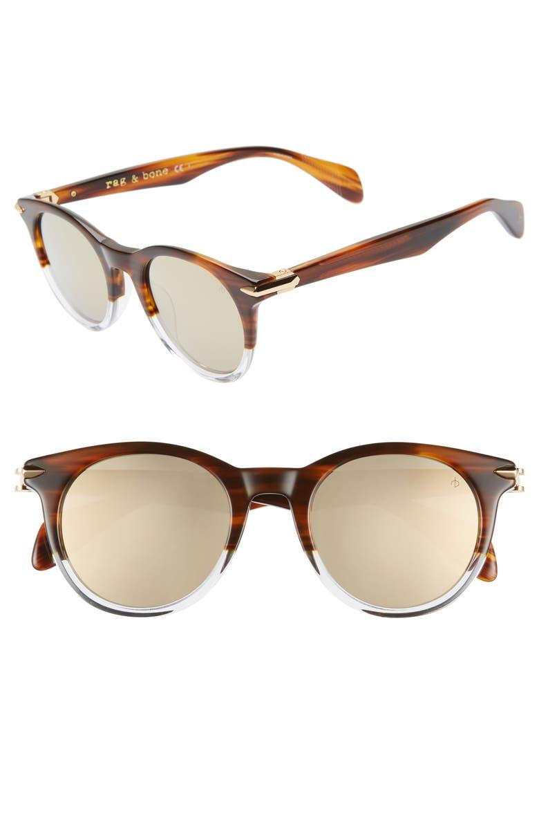 RAG & BONE 49mm Round Sunglasses, Main, color, HAVANA/ CRYSTAL