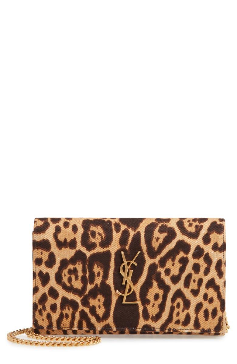 SAINT LAURENT Kate Leopard Print Wallet on a Chain, Main, color, NATUREL