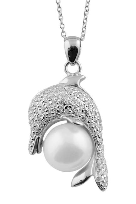 Image of Splendid Pearls 10-11mm Cultured Freshwater Pearl Dolphin Pendant Necklace