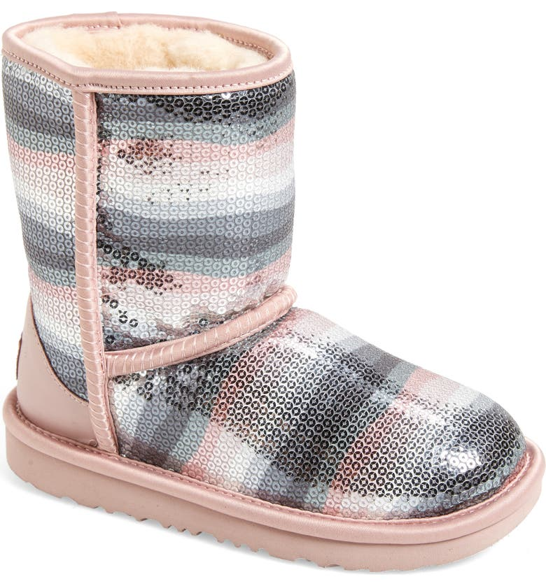 UGG<SUP>®</SUP> Classic II Rainbow Sequin Short Boot, Main, color, CRYSTAL RAINBOW