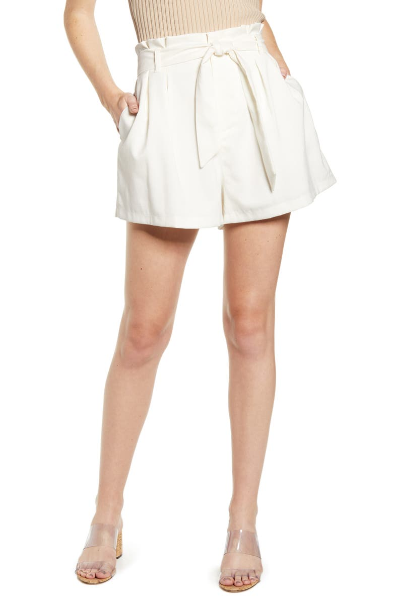 BISHOP + YOUNG Bishop & Young Belted Paperbag Waist Shorts, Main, color, 100