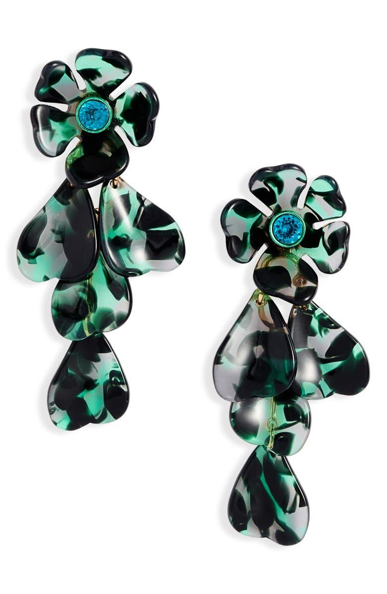 KATE SPADE NEW YORK petal pushers linear earrings, Main, color, GREEN MULTI