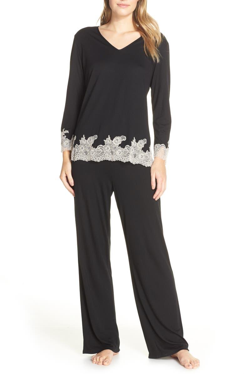 NATORI Luxe Shangri-La Pajamas, Main, color, BLACK/ COCOON