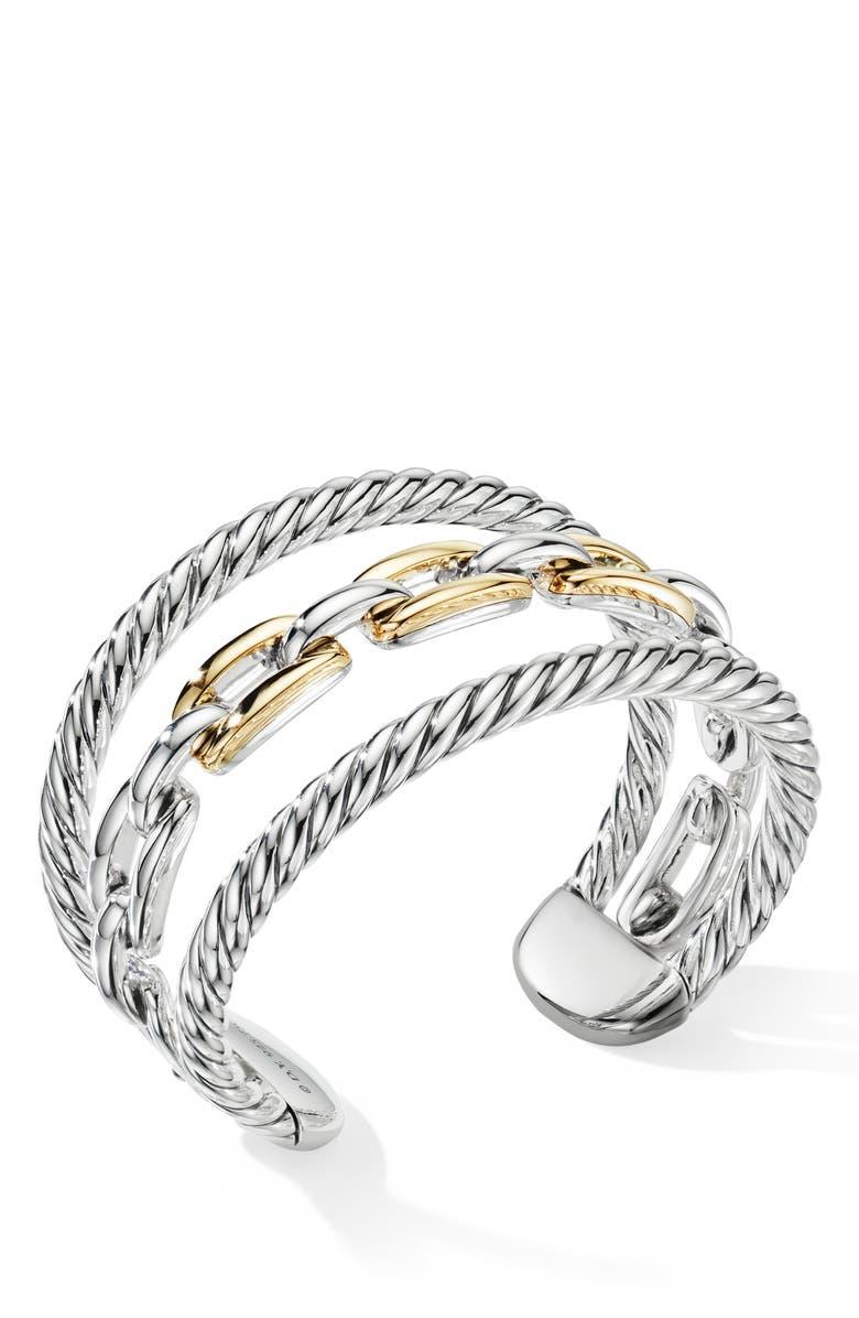 DAVID YURMAN Wellesley Link Multistack Bracelet with 18K Gold, Main, color, 18K YELLOW GOLD/ SILVER
