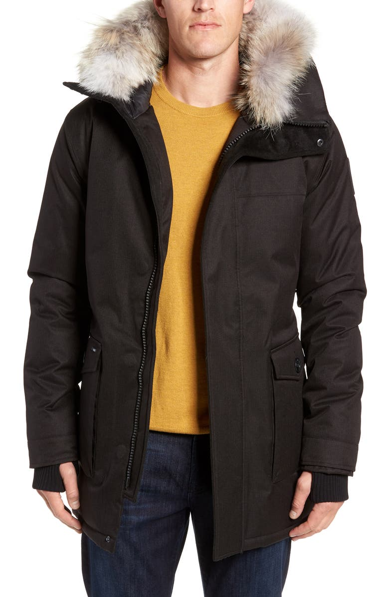 NOBIS Yves Windproof & Waterproof 650 Fill Power Down Parka with Genuine Coyote Fur Trim, Main, color, BLACK