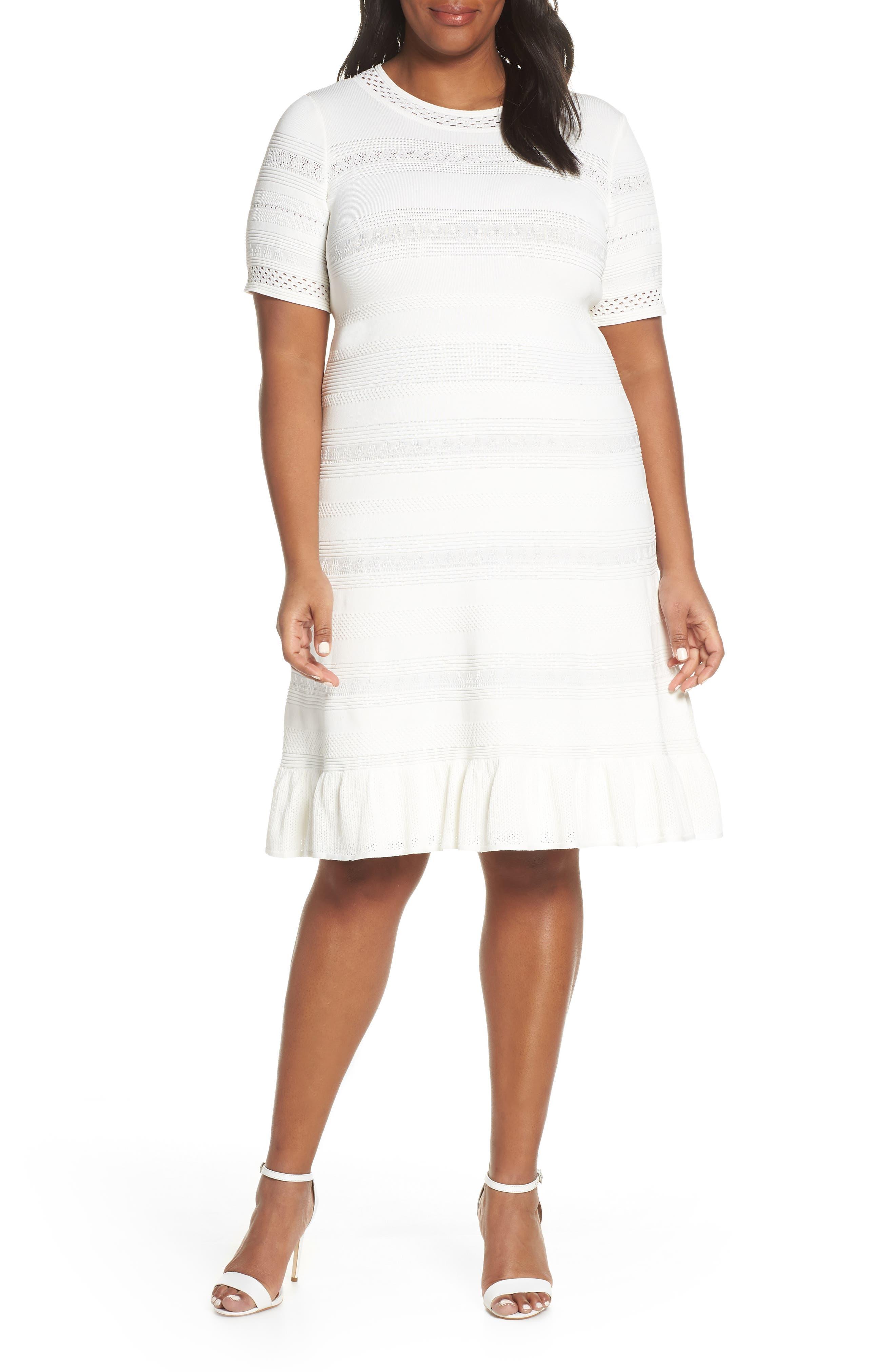 Plus Size Eliza J Pointelle Ruffle Hem Sweater Dress, Ivory