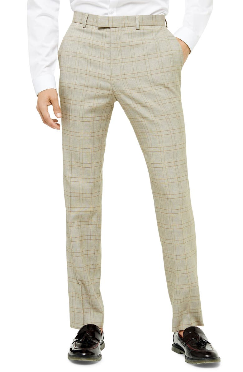 TOPMAN Jake Check Skinny Fit Suit Pants, Main, color, STONE