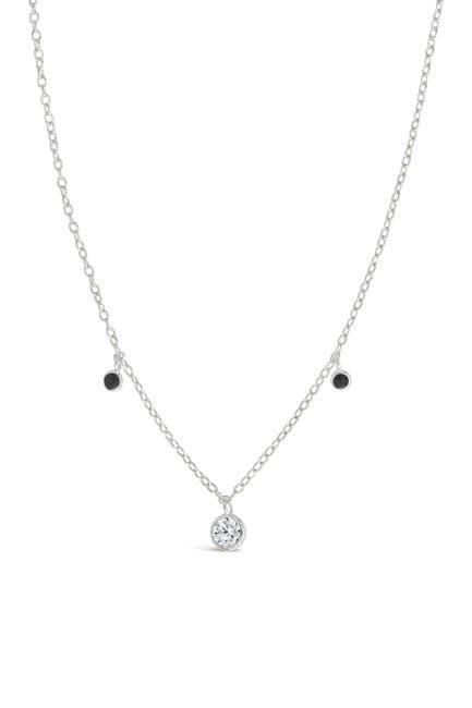 Image of Sterling Forever Sterling Silver Black Enamel & CZ Charm Necklace
