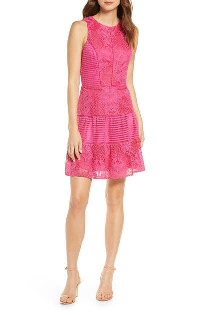 Adelyn Rae Shayna Mixed Lace Dress In Fuchsia Modesens