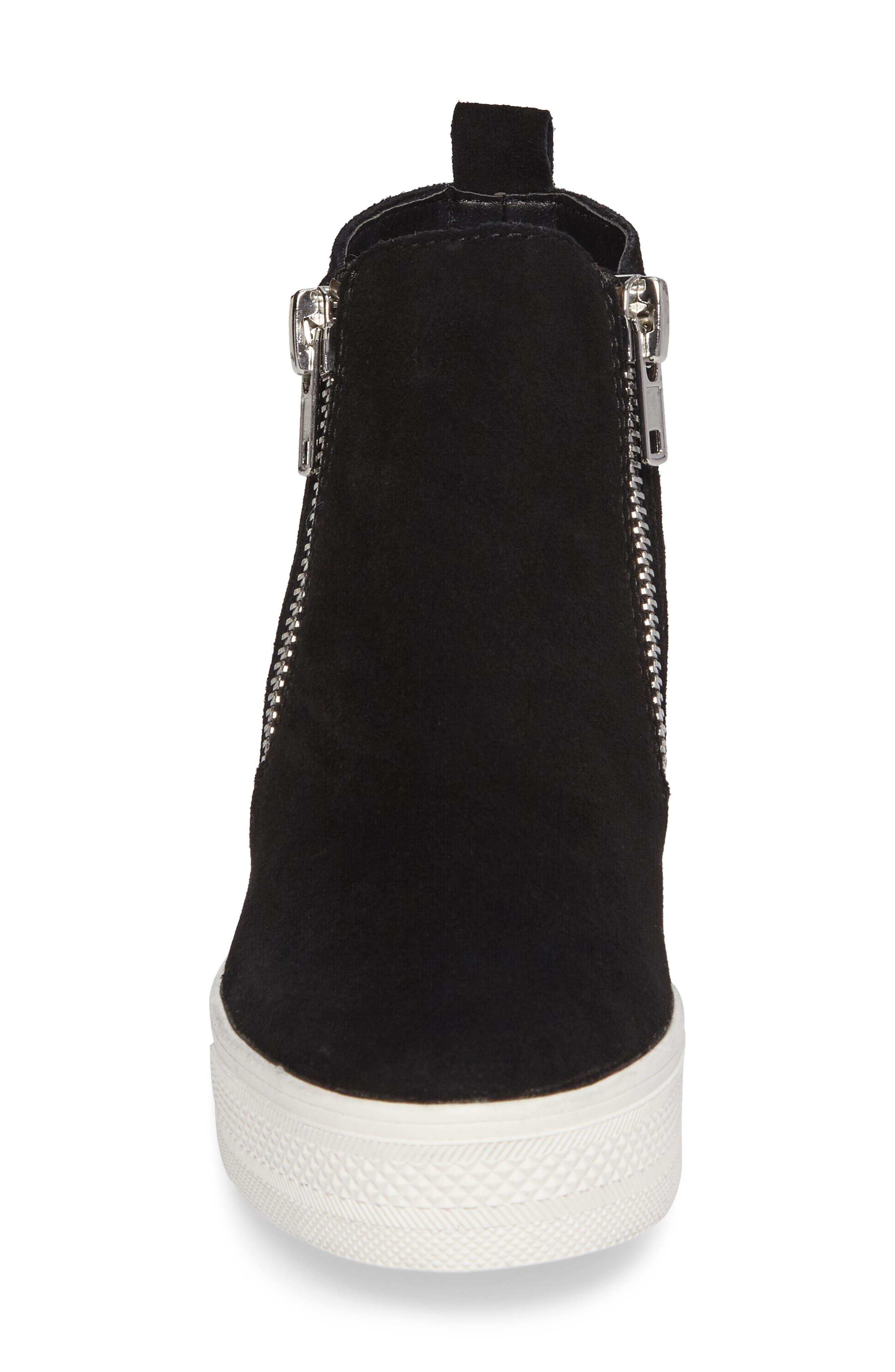 ,                             Wedgie High Top Platform Sneaker,                             Alternate thumbnail 4, color,                             BLACK SUEDE