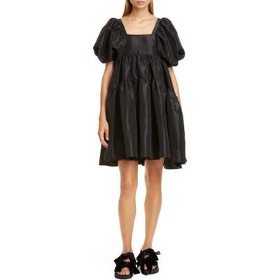 Cecilie Bahnsen Ami Velvet Bow Faille Babydoll Minidress, US / 8 UK - Black
