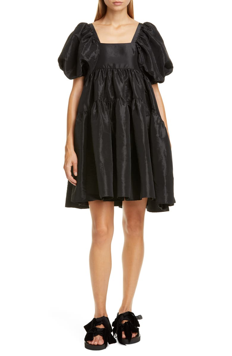CECILIE BAHNSEN Ami Velvet Bow Faille Babydoll Minidress, Main, color, BLACK