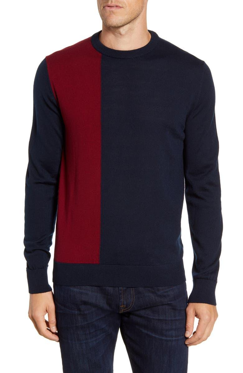 BUGATCHI Colorblock Wool Blend Sweater, Main, color, BORDEAUX
