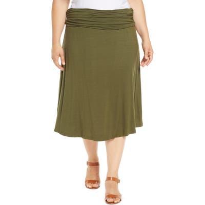 Plus Size Bobeau Andie Convertible Knit Skirt, Green
