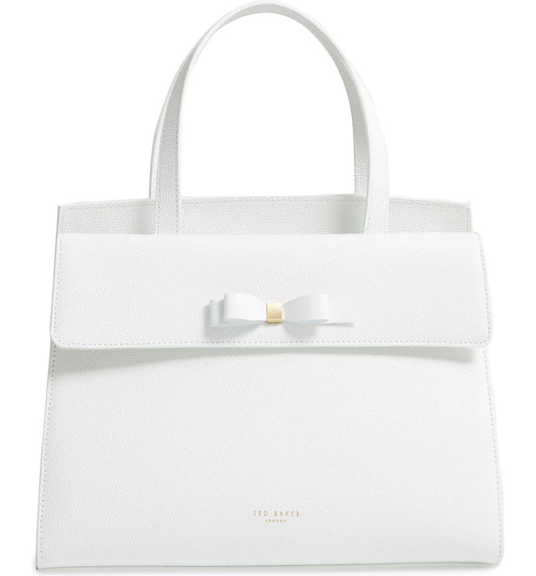 TED BAKER LONDON Aarilli Bow Leather Satchel, Main, color, WHITE