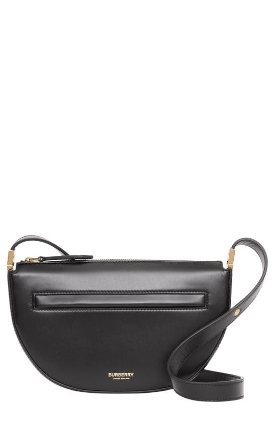Burberry Mini Olympia Leather Shoulder Bag In Black