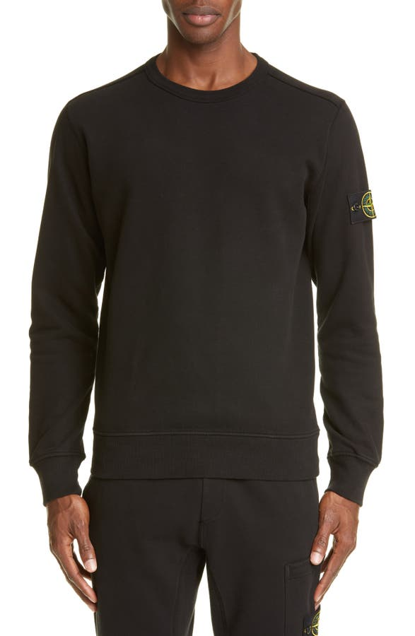 20e9268ea845e Stone Island Patch Crewneck Sweatshirt In Black | ModeSens