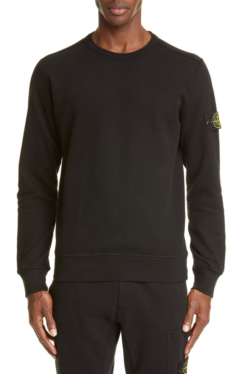 STONE ISLAND Patch Crewneck Sweatshirt, Main, color, 001