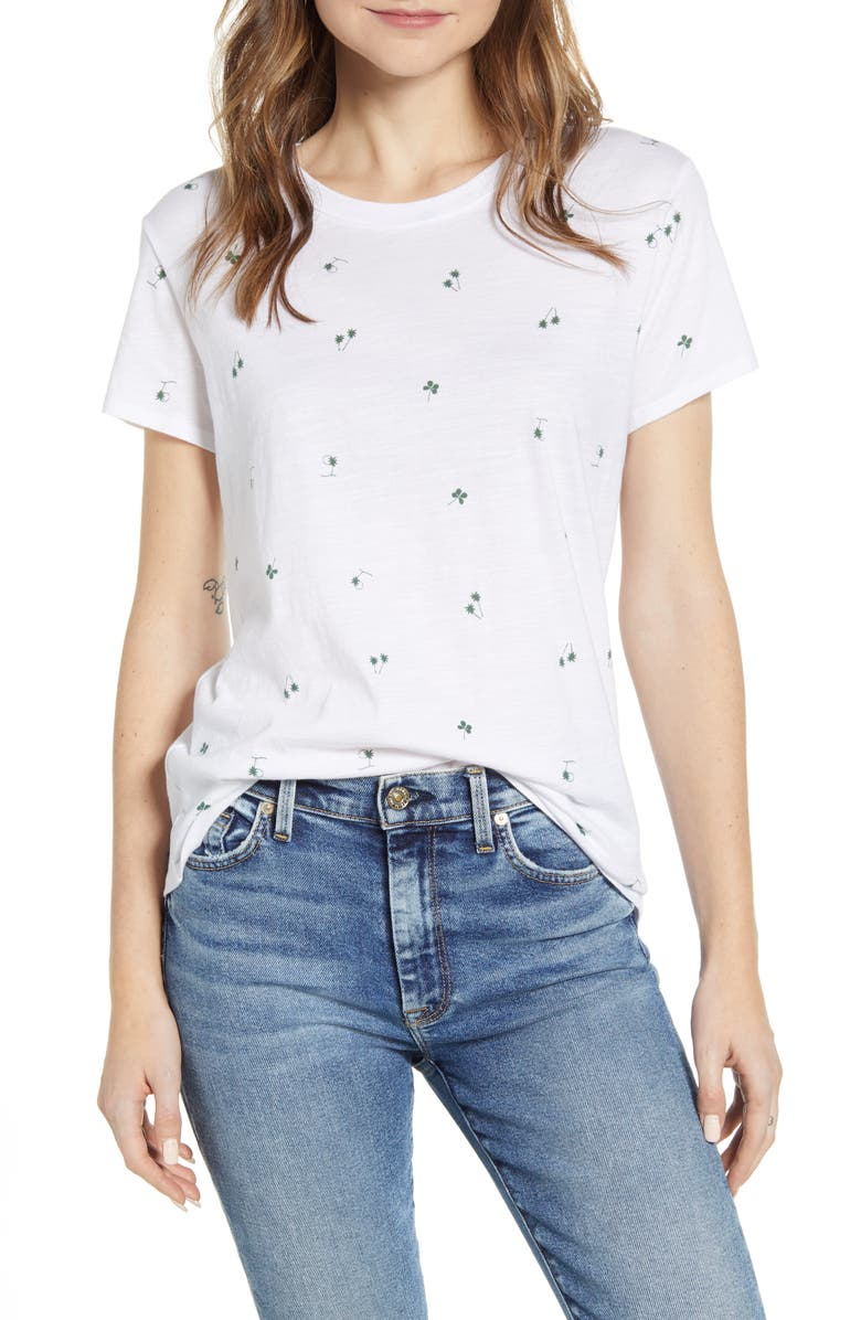 LUCKY BRAND Palm Tree & Clover Print T-Shirt, Main, color, 110