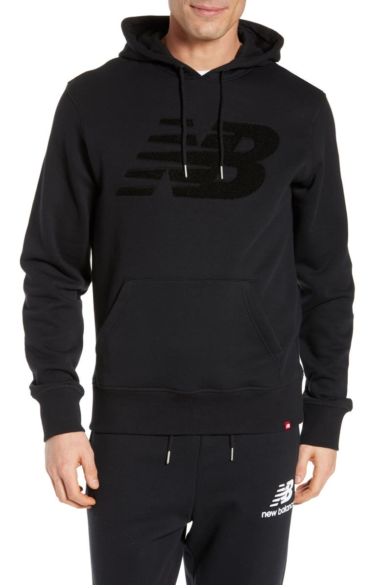 NEW BALANCE Varsity Chenille Hooded Sweatshirt, Main, color, 001