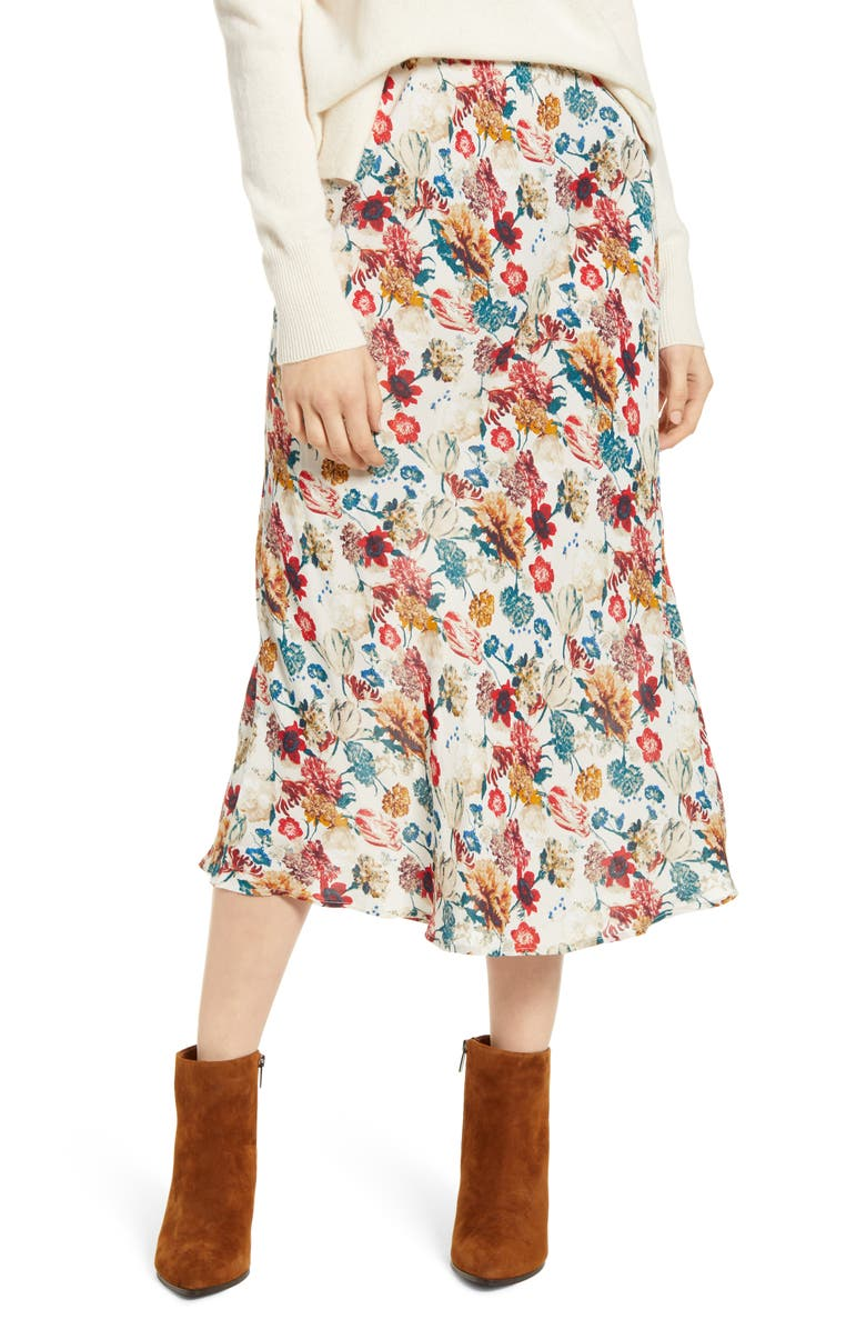 LUCKY BRAND Willa Floral Crepe Skirt, Main, color, 900