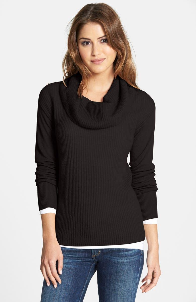 CASLON<SUP>®</SUP> Cashmere Cowl Neck Sweater, Main, color, 001