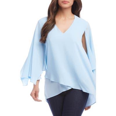 Karen Kane Angel Sleeve Crossover Top, Blue