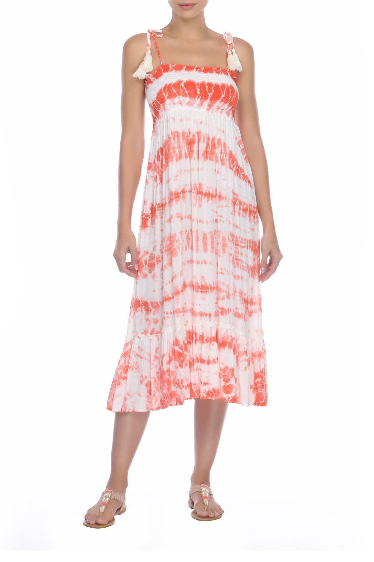 Image of BOHO ME Smocked Tie Dye Midi Dress